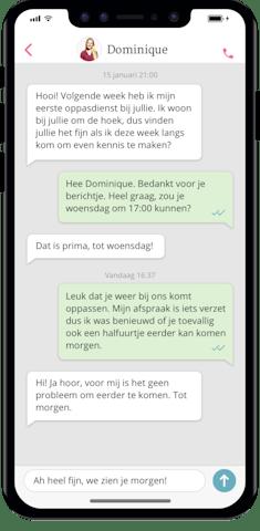 De Oppas App - chatfunctie: chatten met de oppas of ouder