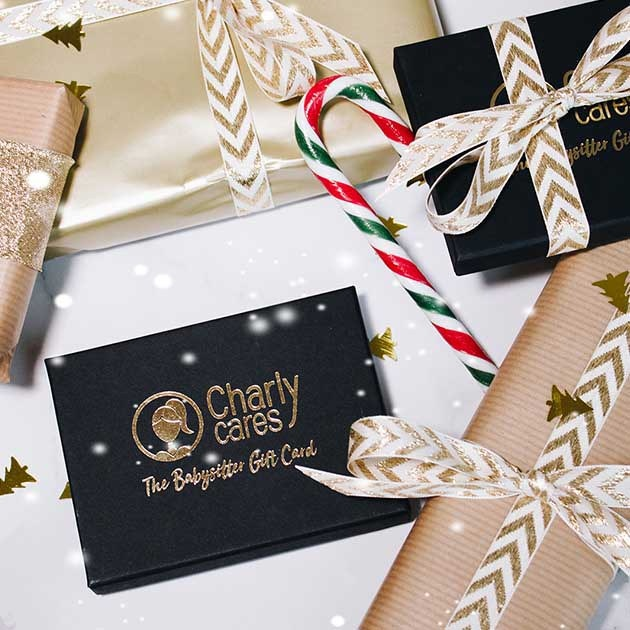 A gift wrapped for the holidays: babysitter gift card from Charly Cares