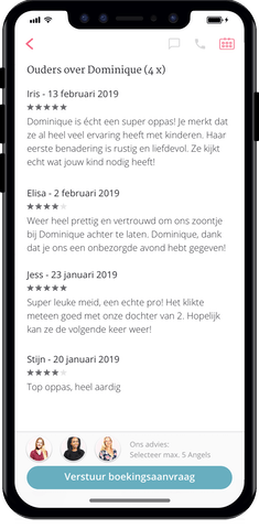 The reviews you can see in the Charly Cares app